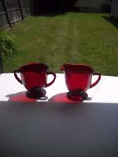 Anchor Hocking Royal Ruby Creamer And Sugar - No Faults Found On Either Piece0