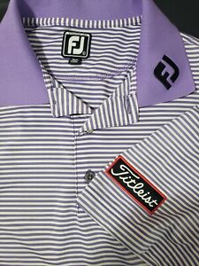 FOOTJOY Athletic Fit GOLF POLO SHIRT LARGE Titleist on Sleeve