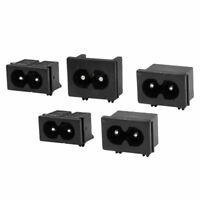 2.5A 250VAC IEC320 C8 PCB Mount Male Inlet Socket Adapter 5pcs
