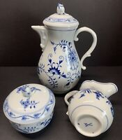 Antique 19TH C. Meissen Blue Onion Coffee & Tea Pot W/ Rose Lid Set Of 3