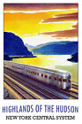 Vintage Train Poster *FRAMED* CANVAS PRINT ~ Hudson River New York 18x12""