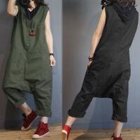 ZANZEA Women Sleeveless Buttons Casual Harem Pants Dungaree Bib Cargo Pants Plus