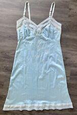 Vintage Baby Blue Lace Slip Dress Lingerie Size Medium