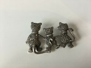 Silver Marcasite 3 Cat Brooch - No Pin To Rear