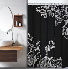 Isabella Black Large Silver Floral Flower Fabric Shower Curtain Duck River