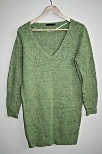 Atmosphere Womans Long Sleeve Knitted Sweater Tunic Soft Material Green Size 8