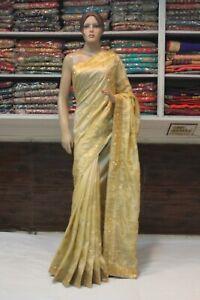 Bollywood Embroidery Zari Work Silk Saree Indian Designer Bridal Party Wear Sari