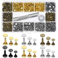 2X(480 Sets 3 Sizes Leather Rivets Double Cap Rivet with 3 Pieces Setting F2O3)