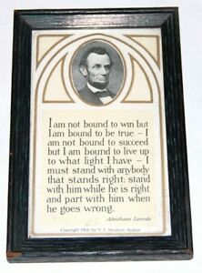 1908 vintage ABRAHAM LINCOLN Framed Not Bound To Win speech postcard photo abe