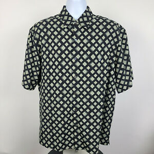 Tori Richard Black Floral Geometric Mens Aloha Hawaiian Dress Button Shirt Large