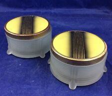 Vintage Art Deco MCM Vanity Powder Trinket Boxes Frosted Glass Box metal lid