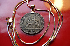 """1924 Mercury Art Nouveau French Franc Pendant on a 24"""" Gold Filled Snake Chain"""