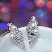 18k white gold 925 sterling silver ice cream cone crystal stud earrings Small