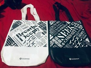 Lululemon Reusable Shopping Gift Bag This Is Yoga Black & White Tote Recycle X2