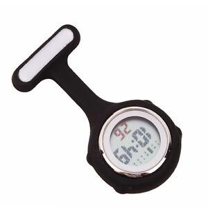 Digital Multi Function Black Nurses/Brooch/Tunic/Fob/Pocket/ Silicone Watch