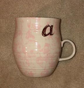 """Anthropologie HOMEGROWN MONOGRAM Letter """"a""""  14oz Mug Cup Pink Floral"""