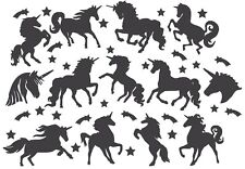 Die Cut Outs Silhouette Unicorn Shapes 13 set + Free stars scrapbook Fairy jar