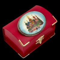 Antique Vintage Art Nouveau 925 Sterling Silver Russian Painted MOP Pin Brooch