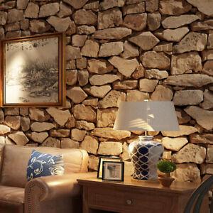 Stone Wall Wallpaper Roll 3D Effect Vinyl Wallcovering For Living Room Decor