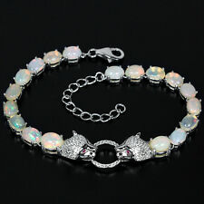 Sterling Silver 925 Genuine Natural Cabochon Opal Tiger Design Bracelet 7.25 - 9