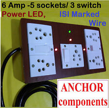 Wooden Extension 5 sockets, 3 Switch, 2 Meter ISI Marked 1 MM Wire, Seperate LED