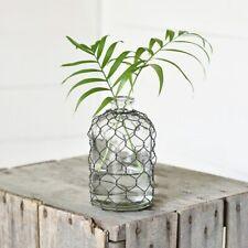 """Black Wire Wrap Round 6"""" Glass Vase"""