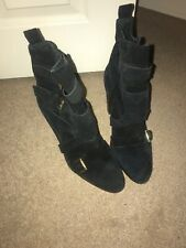 Topshop Size 7 Black Ankle Boots With Buckles