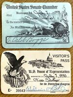 1970 TWO VISITOR'S PASSES vintage set of (2) U.S. HOUSE AND SENATE CHAMBER TOURS