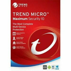 Trend Micro Antivirus Maximum Internet Security New 2021 (3 Devices for 1 Year)