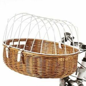 Front-Mounted Wicker Bicycle Pet Basket Bike Cycling + Protective Wire Cage