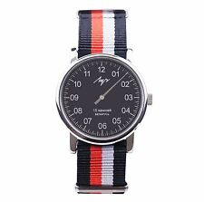One Hand Luch Mechanical Wristwatch. Black Red White Band, Black Dial. 77471772