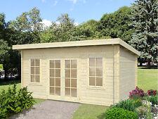 Gartenhaus Lisa 2 Pultdach Blockhaus Holzhaus Schuppen ca 470x350 cm 44 mm