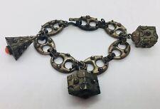 Antique 800 Silver Italian Ornate Etruscan Charm Bracelet
