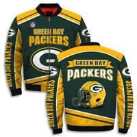 Green Bay Packers Football Helmet NFL Logo Sports Fleece Bomber Jacket 3D S-5XL