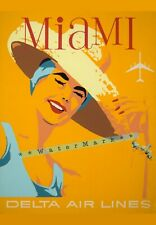 Miami Florida Airline Travel Vintage Poster Print Wall Decor Air Travel Art Deco