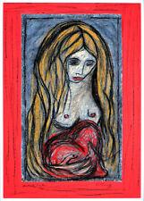 Edvard Munch Das Mädchen und das Herz Rahmen Alu Halbakt Akt Gabriele Sauler