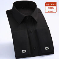 Mens Long Sleeves Dress Shirts Formal French Cuff Business Cufflinks EK6385