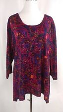 First  Glance Womens Plus Size Blouse Shirt Top Floral Print Career Casual 2XL