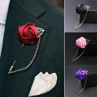 Fashion Men Leaves Roses Brooches Corsage Collar Lapel Pin With Chain Decor