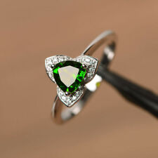 1.31 CT Diopside Gemstone Diamond Rings Solid 14K White Gold Ring Size H N O P