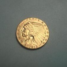 Rare 1913-S Gold $5 Indian Head Half Eagle Coin ~ AU+ ~ (#173)