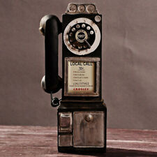 Rotary Dial Pay Phone Model Statue Vintage Phone Telephones Figurine Home Decor