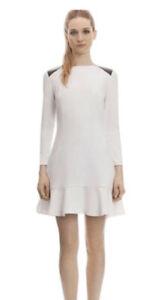 Sandro White Faux Leather Shoulder Dress
