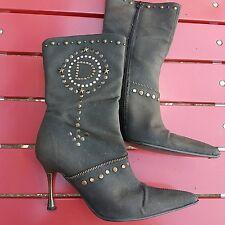 Stunning FAITH EL DANTES Brown Studded Stiletto Boots, Size UK 4.5/EU 37