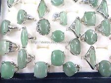 US Seller- 20pcs chunky green agate fashion gemstone rings cheap jewelry