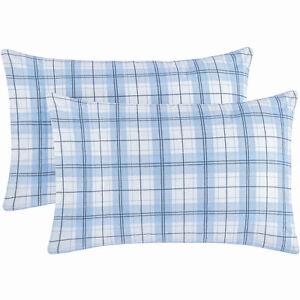 Mellanni Cotton Flannel Pillowcases Standard 20x30- PLAID BLUE, BEIGE (Set of 2)