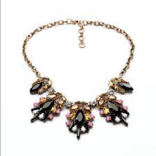 Rose & Peony Statement Necklace amber white purple amber black bronze