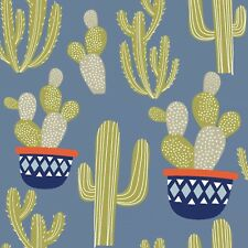 Fabric Cactus Potted Desert Plants Llama Coordinate Blue Denim Cotton 1/4 Yard