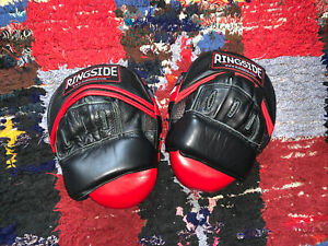 Ringside Panther Boxing Punch Mitts Strike Pads Pair PPM Black Red