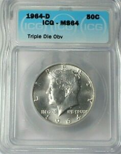 1964-D USA Kennedy Silver Half Dollar ICG MS64 Triple Die Obverse Error  (713)